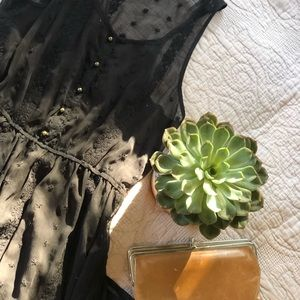 Forever 21 Sheer Black Embroidered Maxi